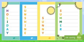 Summer Acrostic Poem - NI, Summer, sunny, sunshine, holiday, poem, poetry, seasons, warm, weather, hot, holiday