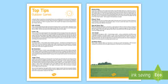 Outdoor Games Parent and Carer Top Tips - sports, family, days out, outdoor activities, park