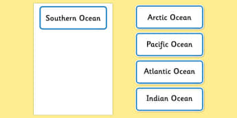 Oceans Of The World Word Cards - visual aids, cards, keywords