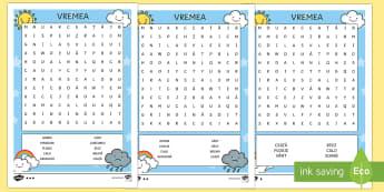Vremea - Careu de cuvinte - vremea, fenomenele naturii, română, materiale, jocuri,a ctivități, fenomenele meteo, meteorologi