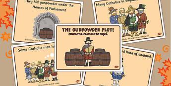 The Gunpowder Plot Story Sequencing Romanian Translation - romanian