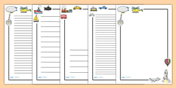 Transport Page Borders - Transport, page border, a4 border, template, writing aid, writing border, page template, car, van, lorry, bike, motorbike, plane, aeroplane, tractor, truck, bus