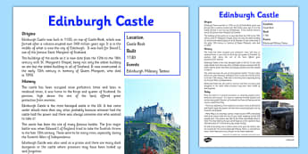 Edinburgh Castle Information Sheet - First Level, Social Studies, Scottish history, Scottish Castles