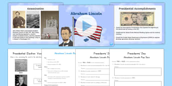 Abraham Lincoln Resource Pack - American Presidents, American History, Social Studies, Barack Obama, Lyndon B. Johnson, Franklin D.