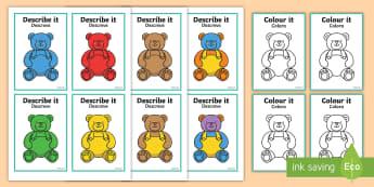 Describe It Colour It Teddy Game - English/Portuguese - describe it, colour, teddy, eal, portugese