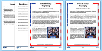Donald Trump Biography Differentiated Reading Comprehension Activity