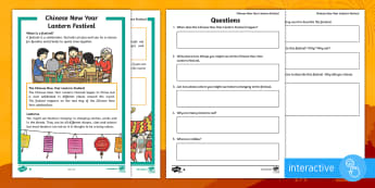 Chinese New Year Lantern Festival Differentiated Comprehension Go Respond Activity Sheets - Chinese New Year KS1, EYFS, Celebration, festivals, rooster, Chinese New Year, Chinese New Year Lant
