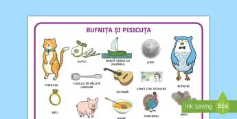 Bufnița și Pisicuța - Planșă - bufnita si pisicuta, română, comunicare, limba română, poezii, planșe, planse, planșă, poezii