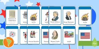 Independence Day Flashcards US English/Spanish (Latin) - cards, flashards, 4th july, flascards, eal