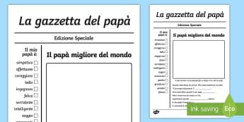 La gazzetta del papà Biglietto d'Auguri - festa, del, apapà, biglietto, d, auguri, italiano, italian, materiale, scolastico, gazzetta, giorna