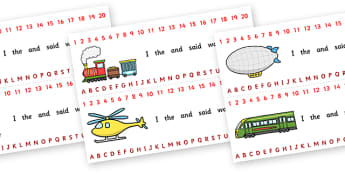 Combined Alphabet and Number Strips (Transport) - Transport, Alphabet, Numbers, Writing aid, car, van, lorry, bike, motorbike, plane, aeroplane, tractor, truck, bus