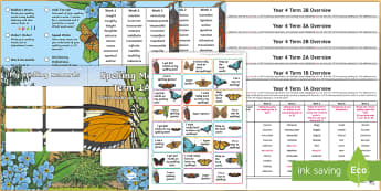 Year 4 Butterfly Themed Spelling Menu Pack - spag, gps, home learning, weekly, lists, test,