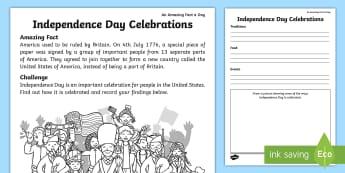 Independence Day Celebrations Activity Sheet - july amazing fact, US, facts, history, KS1, amazing fact, worksheet