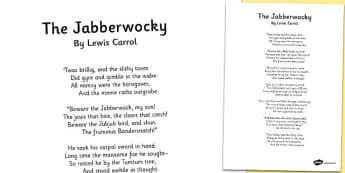 nonsense in lewis carrolls poem jabberwocky essay