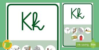Póster: La K - lecto, leer, lectura, fonemas, sonidos, didáctico, consonantes, Spanish