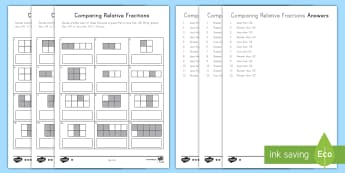 Comparing Relative Fractions Differentiated Activity Sheets - comparing fractions, fractions, relative fractions, equivalent fractions, fourth grade, visual compa