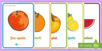 Fruits Display Poster Niuean/English - niue, niuean language week, languages, pasifika, fruits