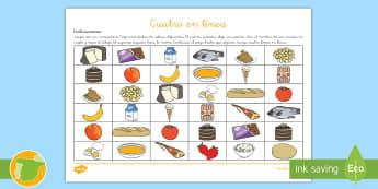 uego: Cuatro en línea - La comida en inglés  - food, game, lengua extranjera, inglés, english, ,Spanish-translation