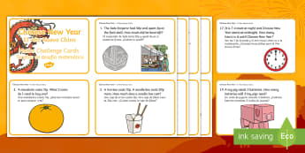 Year 1 Chinese New Year Maths Word Problem Challenge Cards English/Spanish - Year 1 Chinese New Year Word Problem Challenge Cards - challenge, Chinese new year, new yeAT, NEW YA