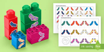 Sock Patterns Matching Connecting Bricks Game - EYFS, Early Years, KS1, Connecting Bricks Resources, duplo, lego, plastic bricks, building bricks, M