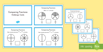 Comparing Fractions Challenge Cards - math, fractions, comparing, challenge cards, activity