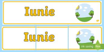 Iunie Banner - lunile anului, decorul clasei, activități, panoul clasei, activități lunare,Romanian
