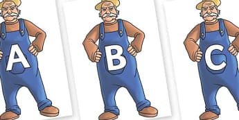 A-Z Alphabet on Angry Farmer - A-Z, A4, display, Alphabet frieze, Display letters, Letter posters, A-Z letters, Alphabet flashcards
