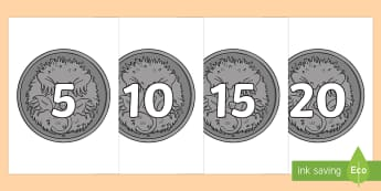Counting in 5s on 5c Coins Display Numbers - counting in fives, skip counting, Australian money, five cent coins, counting in 5s, counting to 100