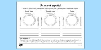 Ficha de diseñar un menú saludable - salud, comer, comida, dieta, platos