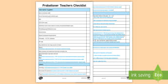 Probationer Teacher Checklist - new teacher, back to school, probationer checklist, NQT, First Class, Getting set up