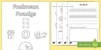 Fuaimean Fonaigs O Duilleagan-Obrach  - Cfe, Early Level, First Level, Letters, Sounds, Phonics, Gaelic Sounds, Gaelic Alphabet,Scottish