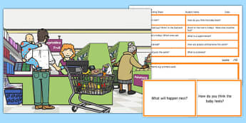 Supermarket Scene Blanks Level 3 Questions - receptive language, expressive language, verbal reasoning, language delay, language disorder, comprehension, autism