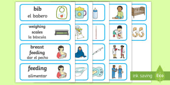 Baby Clinic Role Play Word Cards English/Spanish - Baby Clinic Role Play, baby healthcare, Word cards, flashcards, display, EAL