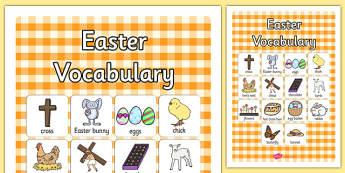 Poster d'affichage : Le vocabulaire de Pâques - Anglais LV