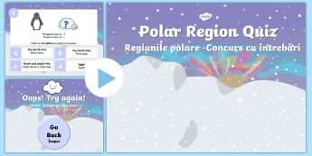 Polar Regions Animal Habitats Quiz PowerPoint English/Romanian - polar, animal, polarregions, animal habitants, habitates, habitatas, pp, ppt,Romanian-translation
