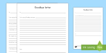 Goodbye Letter Activity Sheet - Grieving Through Tragedy, emotions, feelings, expression, letter, writing, goodbye