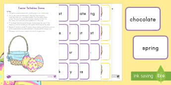Easter Syllables Game - Easter, Bunny, Syllables, Clapping, Tapping, ELA, Literacy, Center Game, Small Group, Whole Group