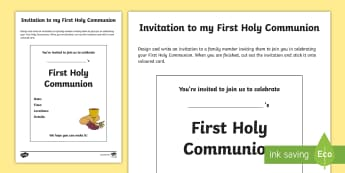 Invitation to my First Holy Communion Write Up Activity Sheet - Confession & First Communion Resources,Irish, invitation, invite, religion, RE, R.E,