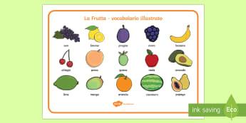 La Frutta Vocabolario Illustrato Italian - frutta, italiano, italian, vocabolario, dizionario, illustrato, vocabolo, vocaboli, nomi, italiano,