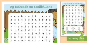 End of School Year Irish Word Search Word Search - Gaeilge-Irish - ROI, Irish, Gaeilge, End of School Year, Laethanta Saoire,Irish