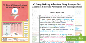 Y3 Story Writing: Adventure Model/Example Text - Example Texts Y3, exemplification, moderating, moderation, wagoll, SATs, fiction, non-fiction, sampl, ARE, age-related example, model, model text, age-related model