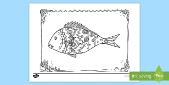 Snapper Fish Mindfulness Colouring Page - New Zealand Mindfulness, snapper fish, snapper, fish, colouring