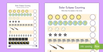 Solar Eclipse Counting Activity Sheet - Solar Eclipse, Eclipse, Eclipse 2017, Counting sheet, Space, Counting