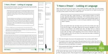 'I Have a Dream' - Looking at Language Activity Sheet - black history month, black history, martin luther king jr, martin luther king, civil rights, I have