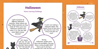 Halloween Themed Home Learning Challenge Sheet Reception FS2