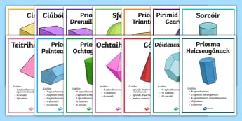 Properties of 3D Shapes Posters Gaielge - 3D shapes, shape and space, cruthanna tríthoiseacha, features, attributes, display posters,Irish