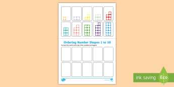 Ordering Number Shapes 1 to 10 Activity Sheet - Priority Number Ordering Sheets, numbers, numbering, order, ordering, 1, one, 10, ten, eyfs, early y
