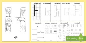 Consolidarea literei H Broșură - alfabetul, alfabetar, litere, sunete, grafisme,Romanian