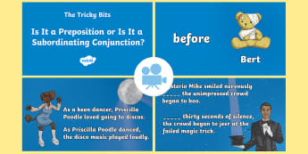SPaG-Tastic! : The Tricky Bits - Is It a Preposition or Is It a Subordinating Conjunction? Video - spag, gps, sat, word class, grammar, y6, y5, Twinkl Go, twinkl go, TwinklGo, twinklgo