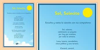 Canción Sol Solecito Poster - Song, canción, sol, sun, poster